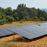 Solar panels in a field