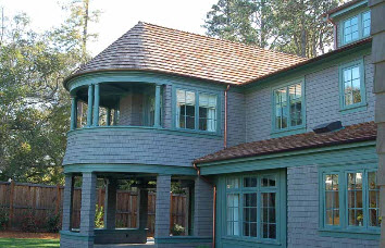 Metal roofing with green trim