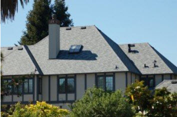 Gray slate roofing
