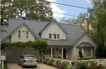 Gray metal roofing installed